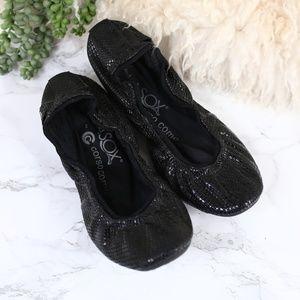 Ballasox Corso Como Black Snake Skin Flats